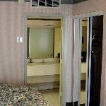 bed, bathroom, closet