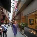 Hotel entrance and laneway cafes