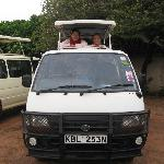 my mom & me ready to go on the game drive (in the parking lot)