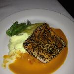 sesame crusted salmon cooked to perfection