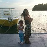 April and Rose on the boat pier/diving dock/fishing pier