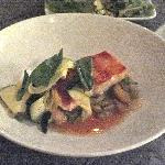 corvina fillet with roasted potatoes and a bouillabaisse broth
