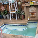 Small hot tub is a fun gathering place.