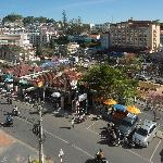 View from our balcony towards the market.