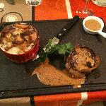 Medallions of Beef and Dauphinoise Potatos.  Yummy.  Great Peppercorn Sauce.