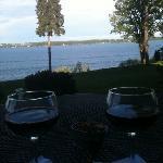 wine overlooking the lake