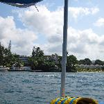 View of the resort from glass bottom boat ride