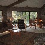 The Octogan living room, huge fireplace to the right