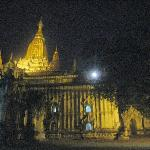 One of the large temple courtyards by night, the moon just visible through the tree