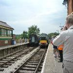 D6929, a BR Class 37 locomotive arrives at North Weald station