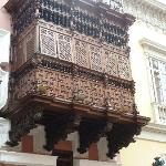 Wood balcony that permits viewing from inside