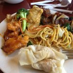 Dumplings, chicken and broccoli, mongolian pork and general's chicken - awesome!!