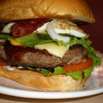 One of their signature dishes, New York 1/2 Pounder Burger..