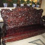 Beautiful Carved Bench in Lobby