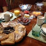 French toast, sausage, fruit...