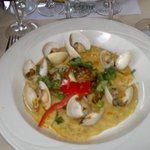 Polenta, sausage and clams