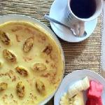 delicious banana pancake and fruit with tea...