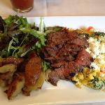 Grilled never never steak onglet and eggs