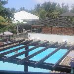 Vue piscine depuis la chambre