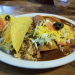 The combination plate I chose came with tostada, taco, beef enchilada and cheese enchilada, alon