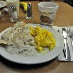 Hot breakfast, including some of the best scrambled eggs we've ever had at a hotel, are availabl