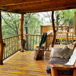 Treehouses overlooking the River and Swarberg Mountains