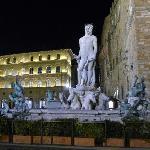 Fountain of Neptune at night at Piazza dell Signoria