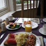 My best English breakfast of the trip, with palms at the window