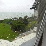 View from bedroom window in rain