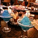 Blue Margarita and Pickles and accompaniments.