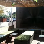 Outdoor seating and fireplace, St Francis