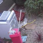 old washing machine in garden