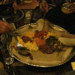 Injera (lamb tips, shiro, etc)