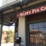 sitting on the patio at the Happy Pig Cafe