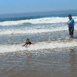 4 yr old 1st time boogie boarding. Small wave shallow perfect for all ages