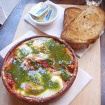 pesto baked eggs with fetta and pumpkin