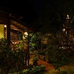 Bungalows at night