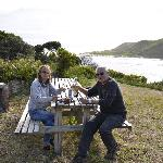 Having a 'beer-o-clock' behind our unit  overlooking the Arthur river mouth