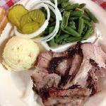 pork plate, potato salad, green beans