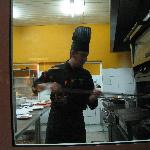 Getting the pizza out of the oven