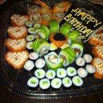 my birthday sushi cake courtesy of Yama Sushi