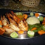 Festive dinner with grilled prawns