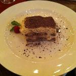 Tiramisu with chocolate shavings (not cocoa powder).  YUM!