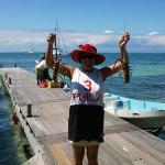 Sandra Hold Up Lobsters for Diner