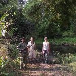 Walking through the rainforest in Nsumbu National Park
