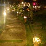 Lit path at night