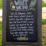Their chalkboard on the Katy Trail