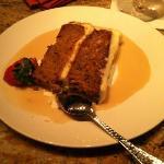 Homemade Carrot Cake with Vanilla Rum Sauce