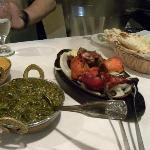 Complete non vegetarian meal with naan, basmati rice, palak paneer, chicken tikka masala, tandoo