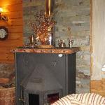 Sala de estar , con chimenea, y exquisito aroma a  canela  y ulmo.